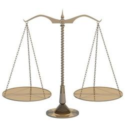 平衡的黃銅天秤