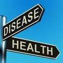 Disease or health directions on a metal signpost