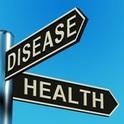 金屬路標上的疾病或健康的方向指示